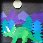 Morse Paper Art Shadow Box Dinosaur