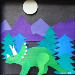Morse Paper Art Shadow Box Dinosaur